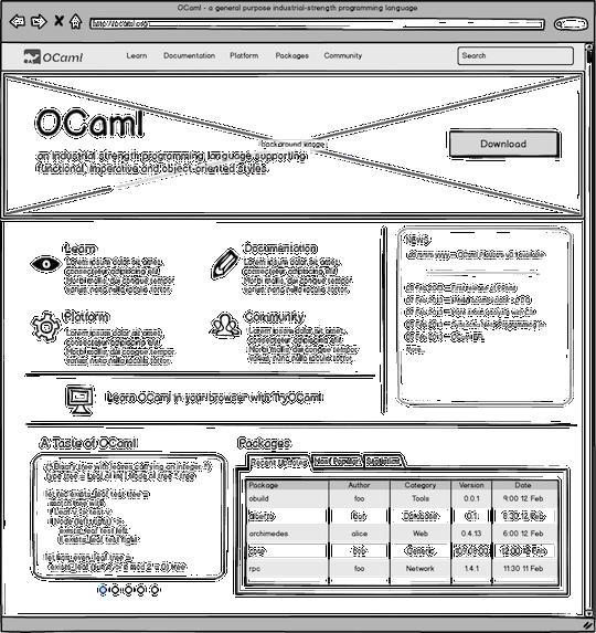OCaml.org Wireframes