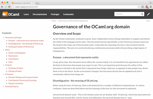 Governance Screenshot